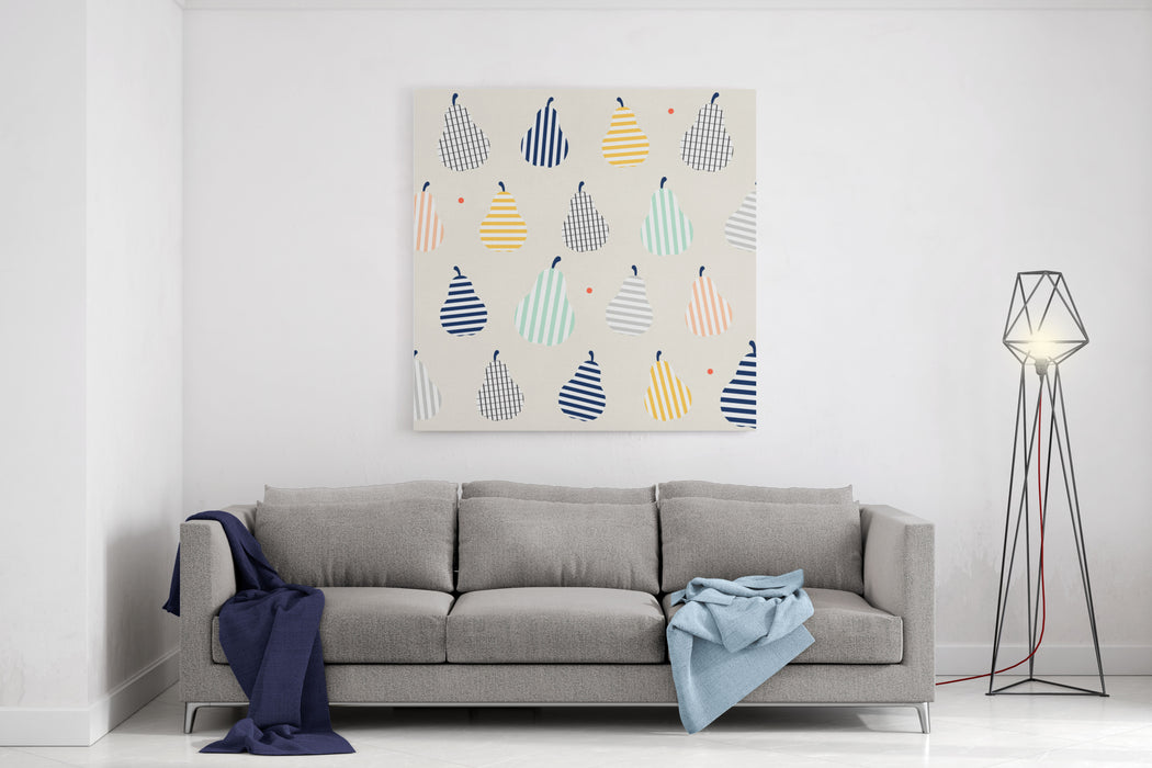 Cute Colorful Abstract Pear Fruit With Stripes Line Art On Smooth Background Design Pattern Seamless Backdrop Wallpaper Vector Image Canvas Wall Art Print