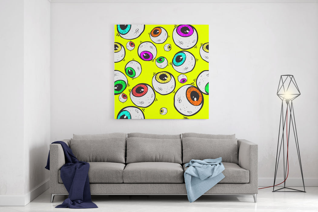 Abstract Eye Seamless Pattern Surrealism Background Canvas Wall Art Print