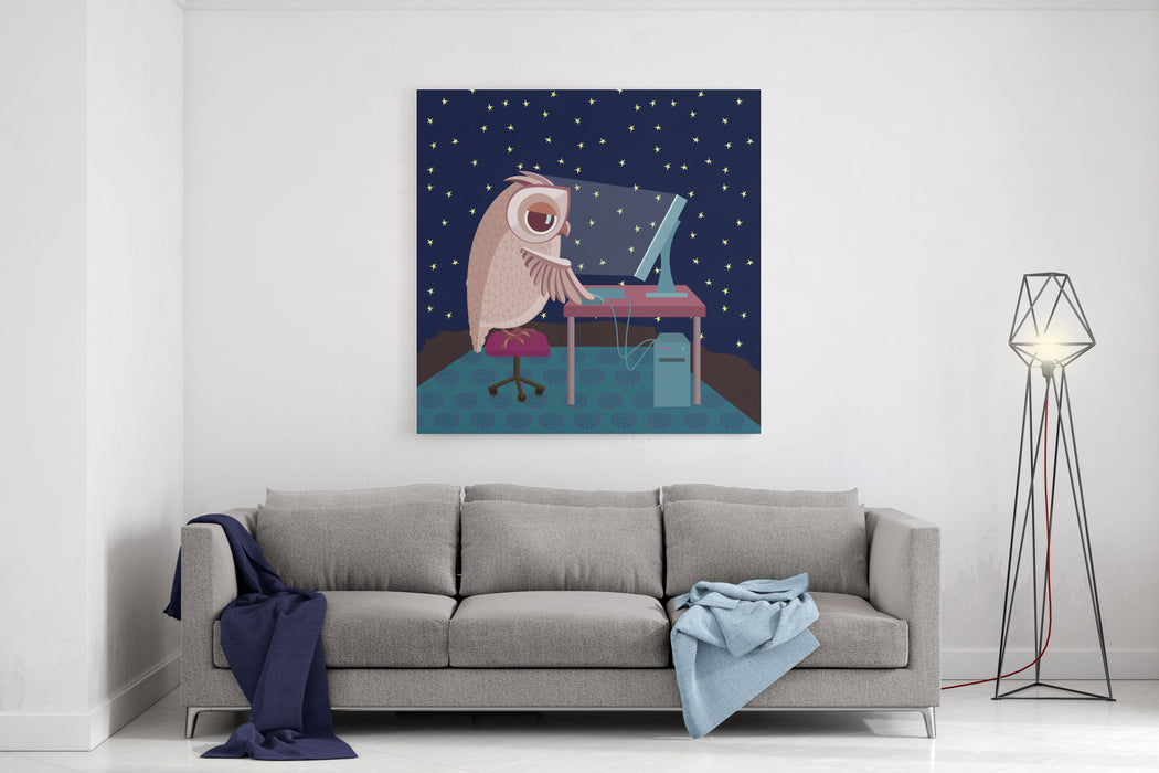 Vector Illustration Owl Working On The Computer At Night Canvas Wall ...