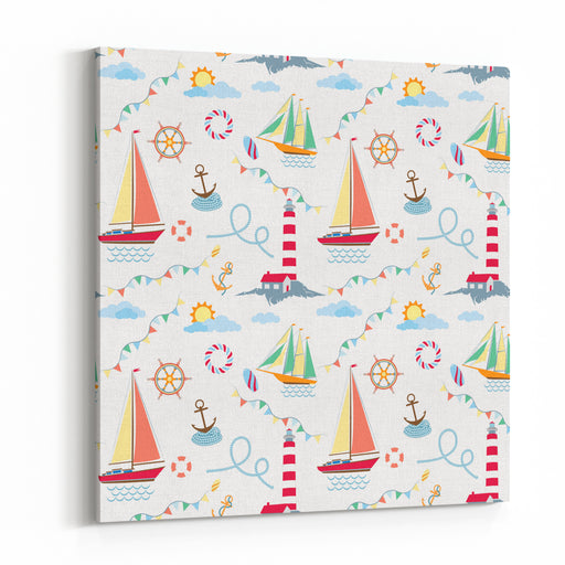 Seamless Marine Pattern With Ships, Lighthouse, Rope, Anchor, Clouds And Sun On Light Background May Use For Kids Linen And Wear Canvas Wall Art Print
