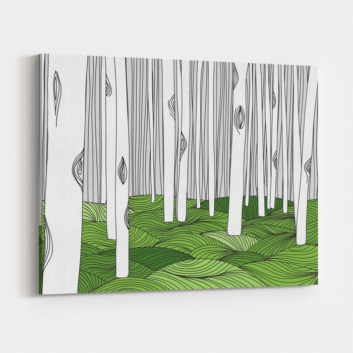 Forest And Meadow Outline Hand Draw Canvas Wall Art Print