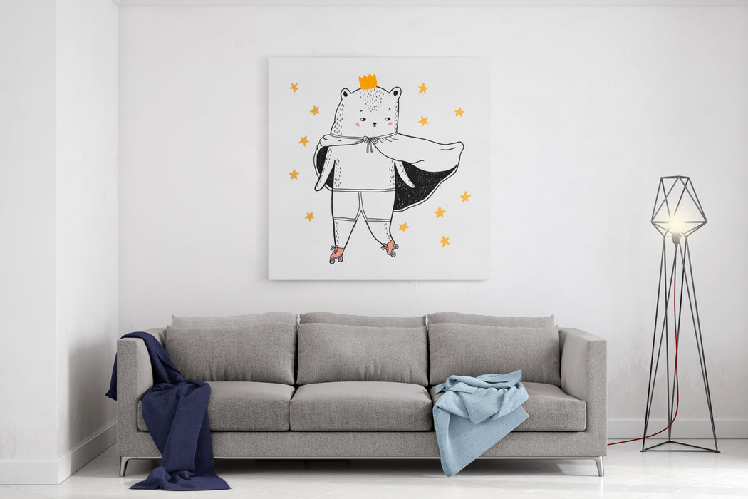 Bear Drawing  Funny Vector Children Illustration Canvas Wall Art Print