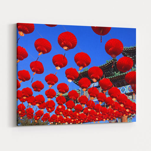 Red Lanterns Are Used As Decoration For Spring Festival In Beijing, ChinaChinese Characters Below Each Lantern Mean Translation Fortuneor Good Luck Canvas Wall Art Print