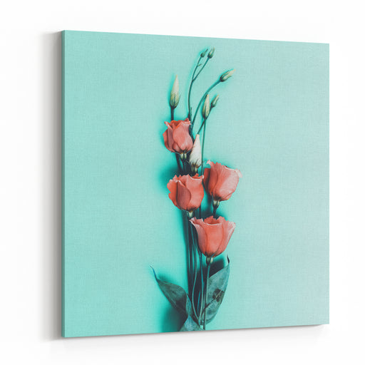 Romantic Flowers On Blue Background Minimal Style Canvas Wall Art Print