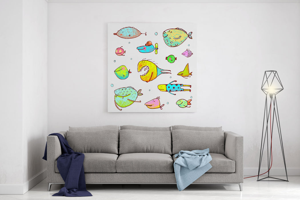 Cartoon Fun Humorous Fish Drawing Collection Funny Cartoon Brightly Colored Fish Drawing Set Pencil Style EPS Vector Has No Background Color Canvas Wall Art Print