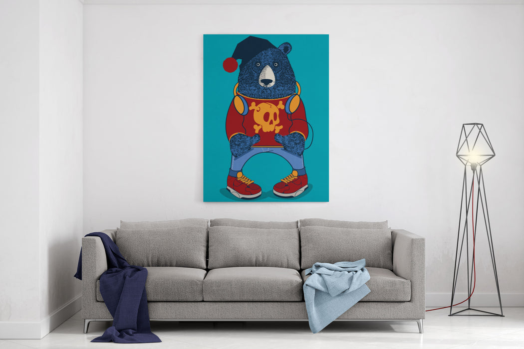 Cool Bear Character Vector Design For Tee Canvas Wall Art Print
