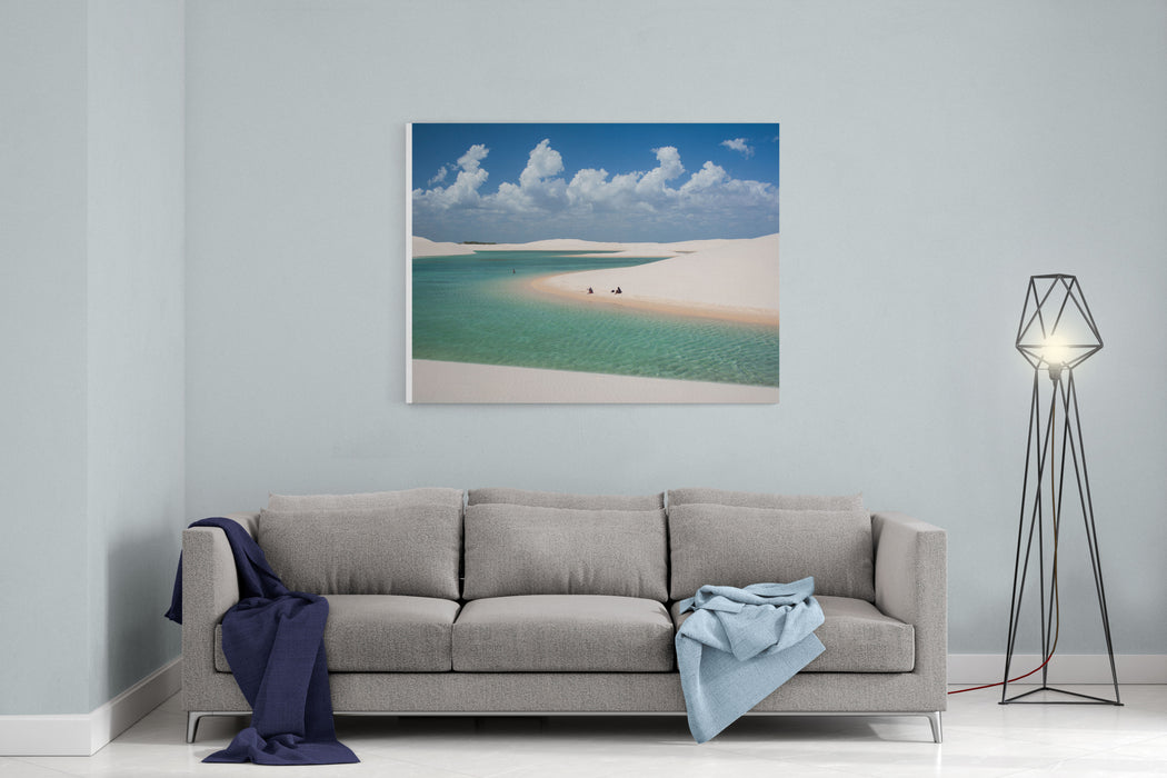 Rainwater Lagoon And Sand Dunes In Lencois Maranhenses National Park, Maranhao, Brazil Canvas Wall Art Print