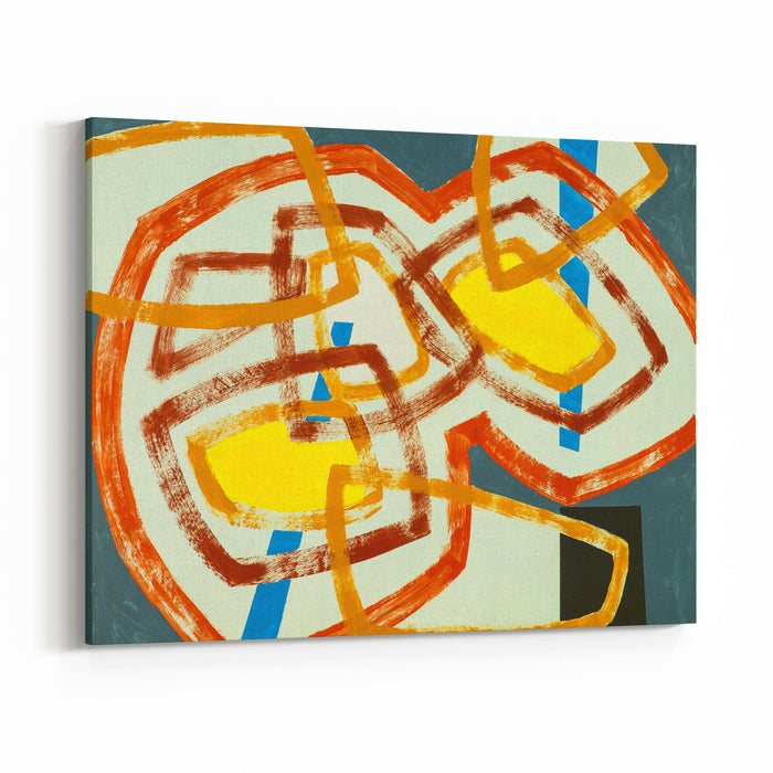 A Painting With Abstract Overlapping Shapes Canvas Wall Art Print