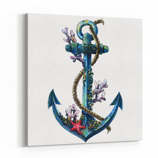 Vintage Sea Anchor With Shell, Coral, Isolated Watercolor Object Canvas Wall Art Print