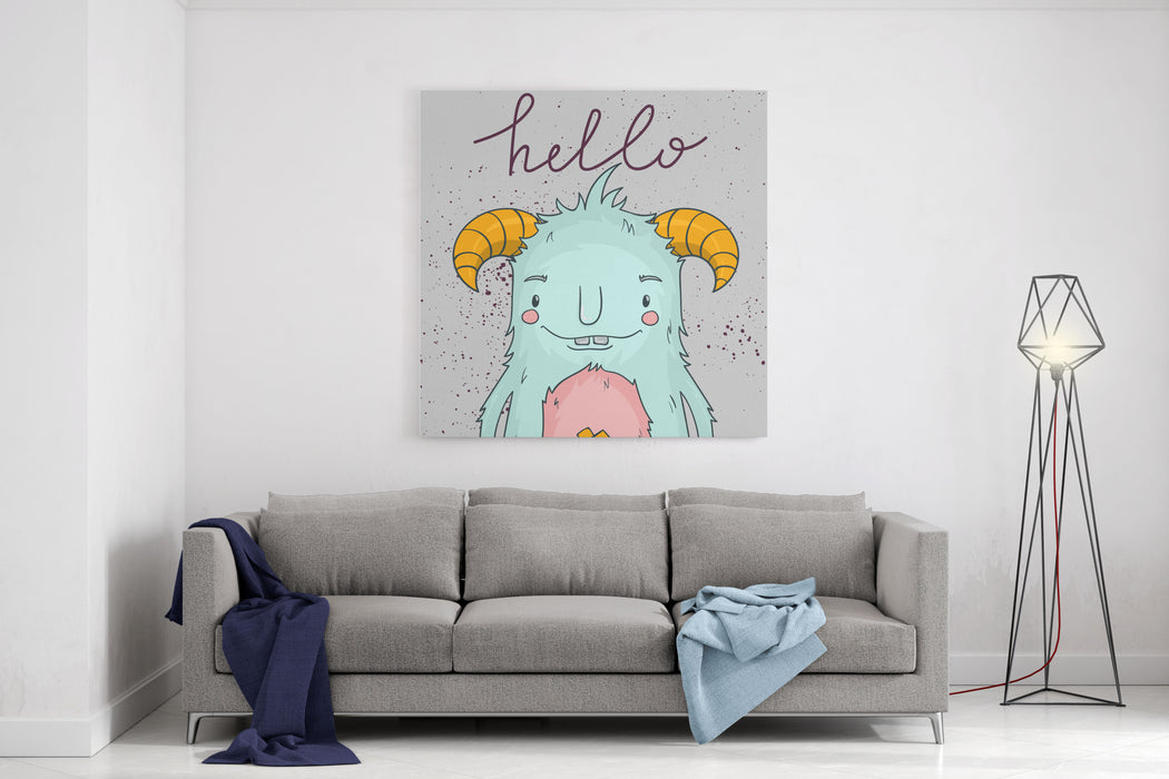 Card Template With Cartoon Monster Hello Cute  Illustration Canvas Wall Art Print