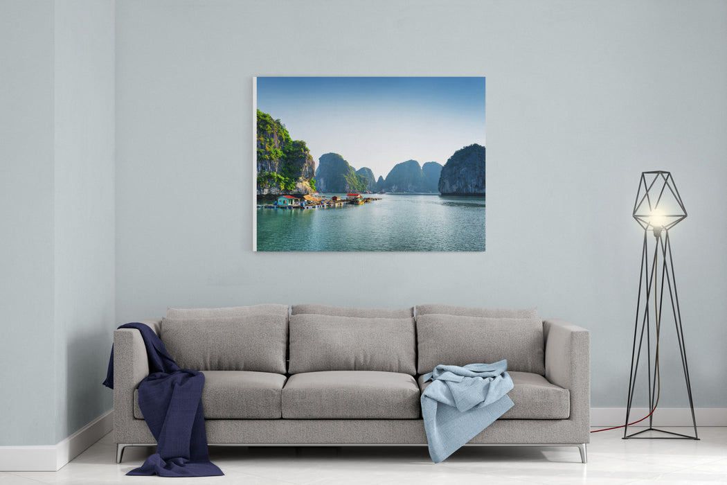 Scenic View Of Floating Fishing Village In The Halong Bay Descending Dragon Bay At The Gulf Of Tonkin Of The South China Sea, Vietnam Landscape Formed By Karst Towersisles In Various Sizes Canvas Wall Art Print