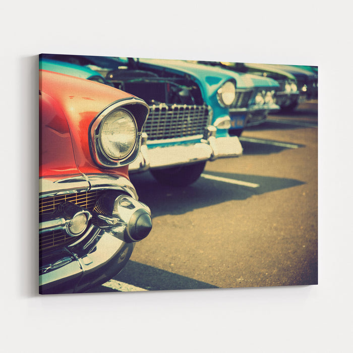 Classic Cars In A Row Canvas Wall Art Print