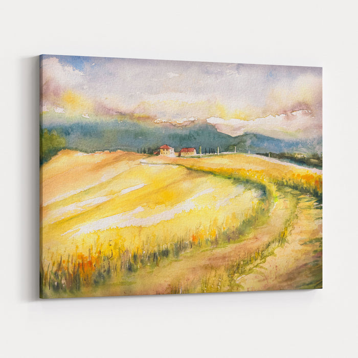 Country Landscape With Typical Tuscan Hills In Italy Watercolors Painting Canvas Wall Art Print