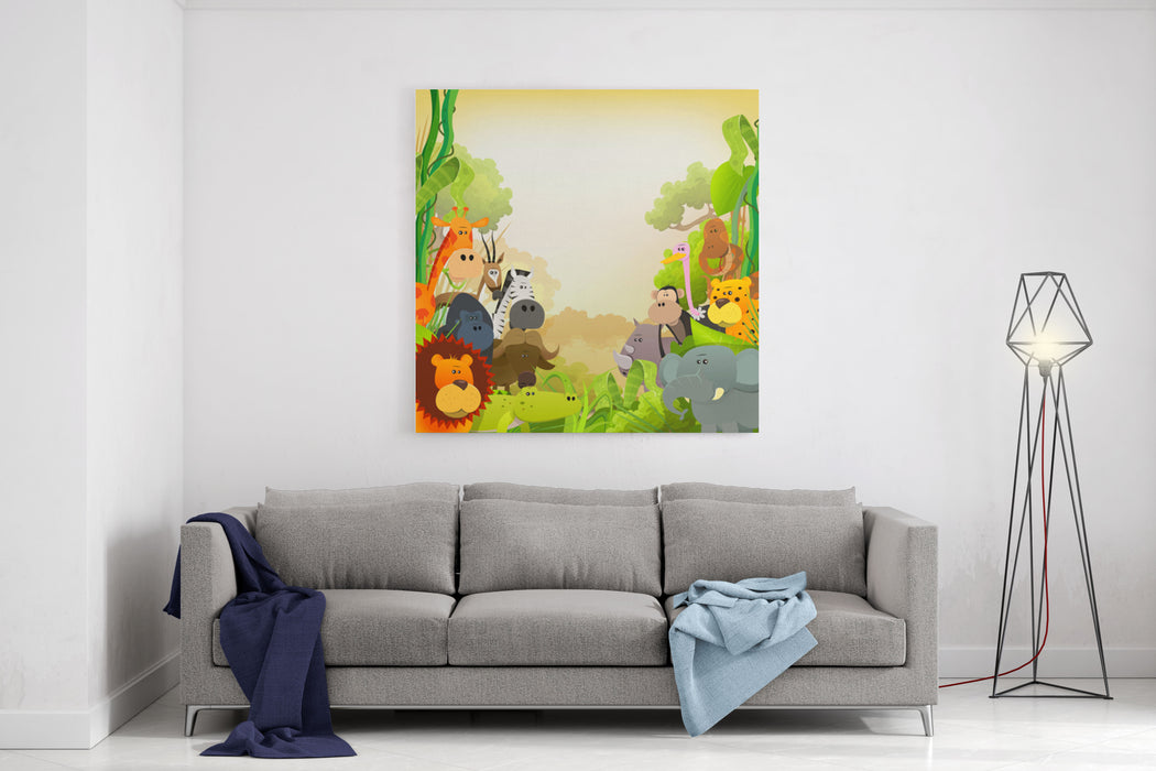 Wildlife African Animals Background Illustration Of Cute Cartoon Wild Animals From African Savannah, With Lion, Gorilla, Elephant, Giraffe, Gazelle, Gorilla Monkey, Ape And Zebra On Jungle Background Canvas Wall Art Print