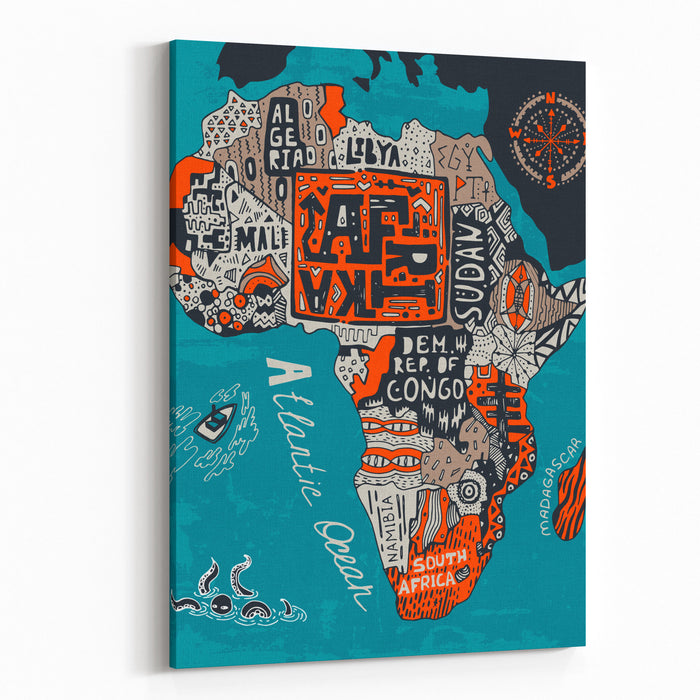 Illustrated Map Of Africa Canvas Wall Art Print