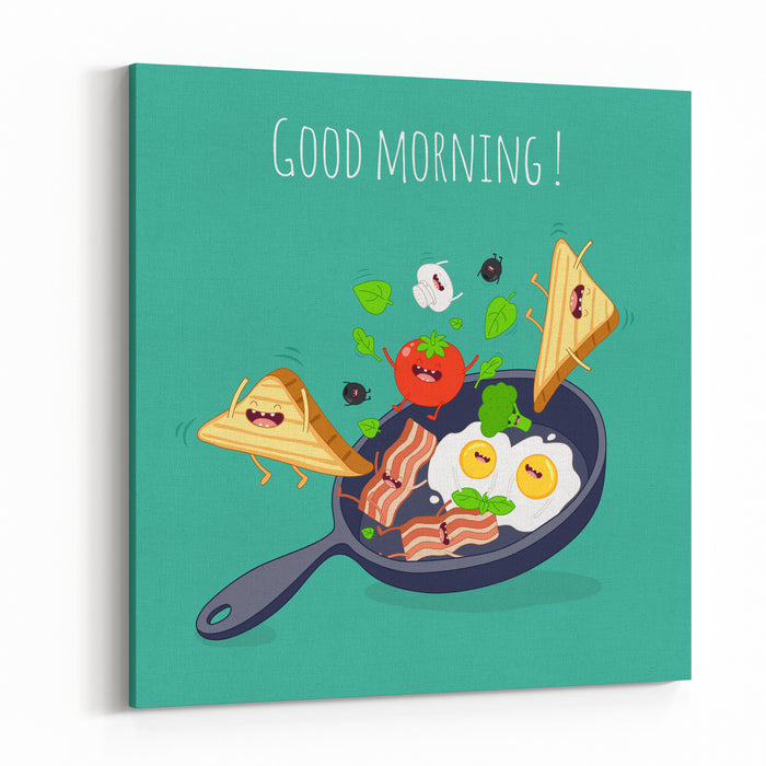 Breakfast Poster Fried Eggs With Bacon On A Blue Pan Vector Illustration Canvas Wall Art Print