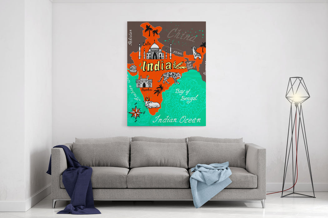 Illustrated Map Of India Canvas Wall Art Print