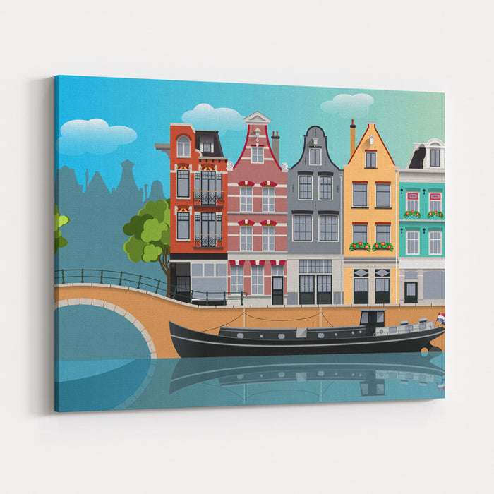 Amsterdam Landscape Canvas Wall Art Print