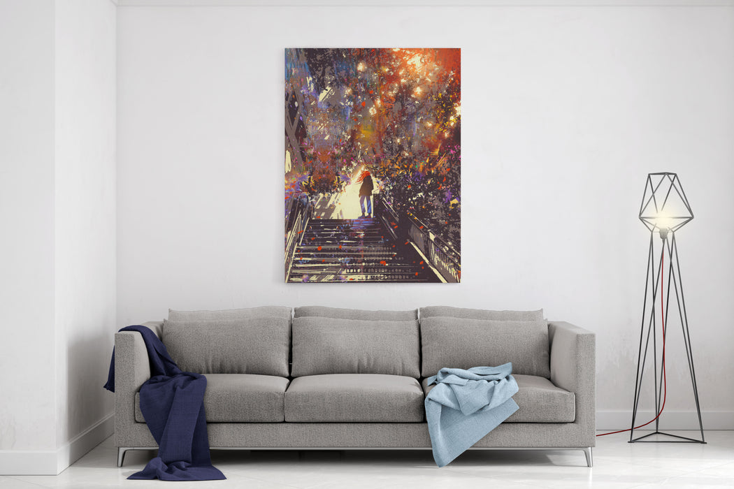 Man Standing On The Top Of Stair In The Park,digital Painting,illustration Canvas Wall Art Print