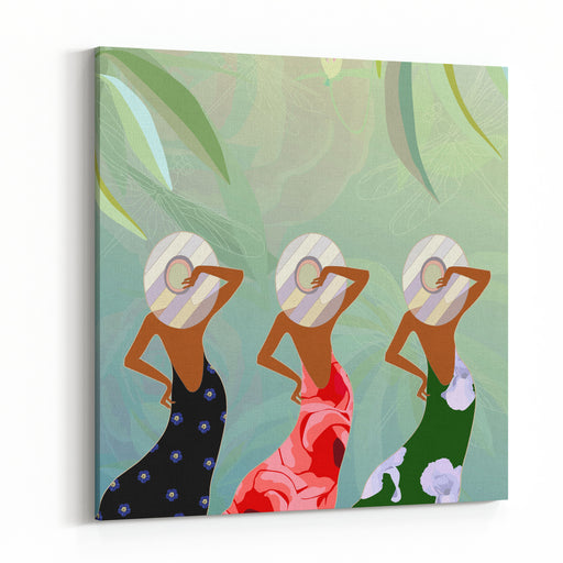 Abstract Sketch Of Models In Dresses With Floral  Green, Red And Black And Striped Hats, Background  Tropical Forest And Dragonflies, Fashion Springsummer,  Color Vector Prints Canvas Wall Art Print
