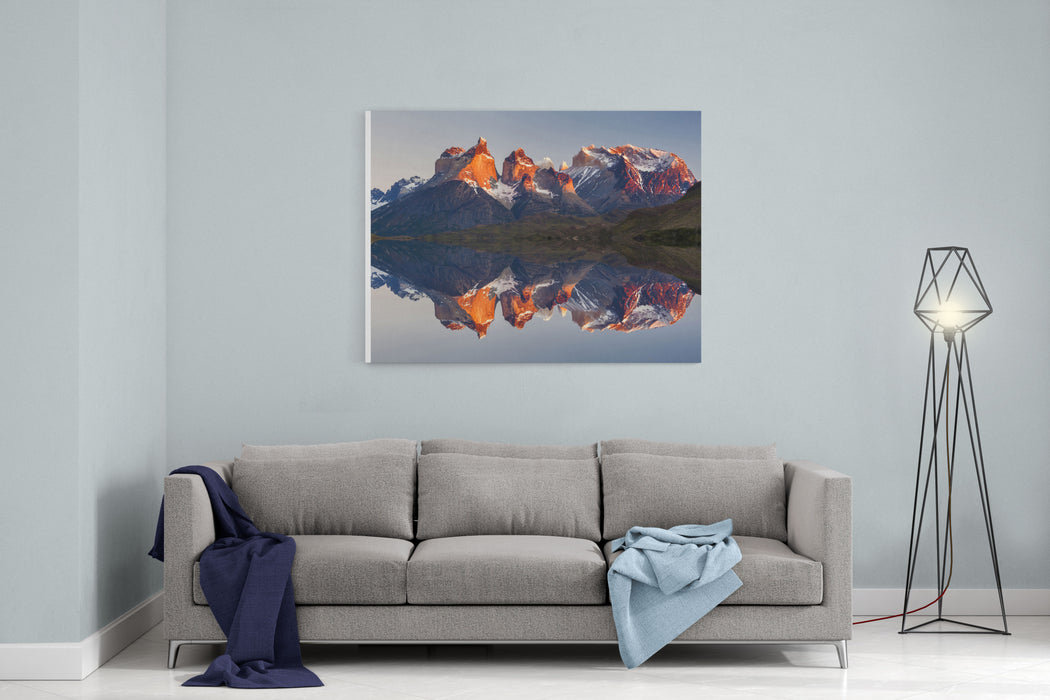 Majestic Mountain Landscape Reflection Of Mountains In The Lake National Park Torres Del Paine, Chile Canvas Wall Art Print