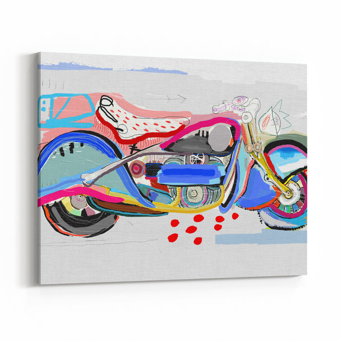 Motorcycle Image Which Consists Of Different Colors Canvas Wall Art Print