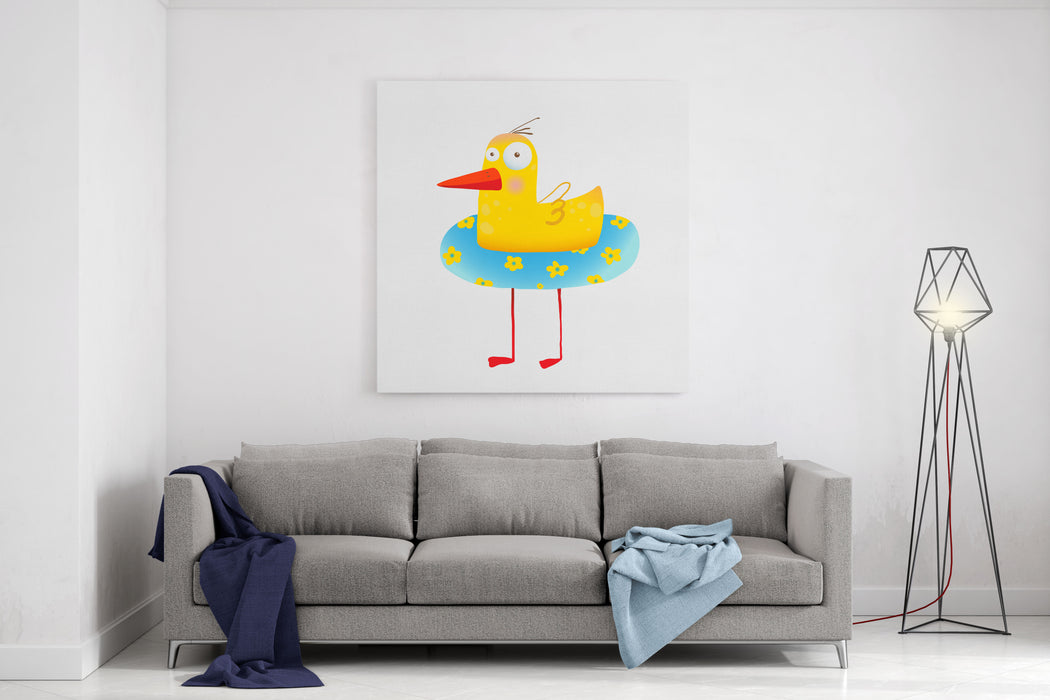 Kids Humorous Yellow Duck With Swimming Circle Yellow Baby Bird Cartoon Cute Childish Drawing Transparent Background EPS Vector Canvas Wall Art Print