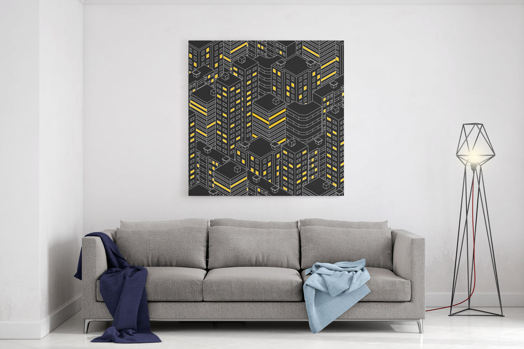 Abstract Black Seamless Pattern Isometric Building At Night  Linear Style The Outlines Of Skyscrapers Houses With Windows Light In The Windows City Street Vector Illustration Canvas Wall Art Print
