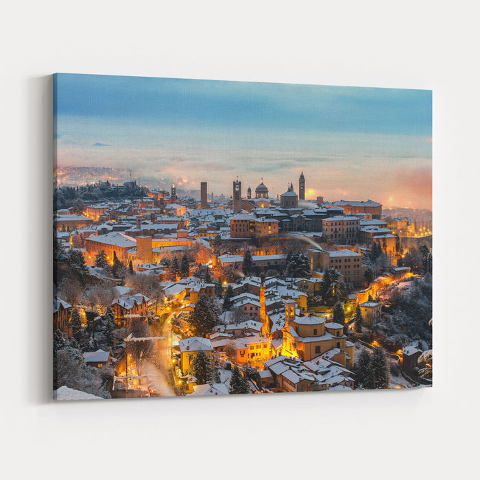 Beautiful Medieval Town At Sunrise, Bergamo Lombardy Canvas Wall Art Print