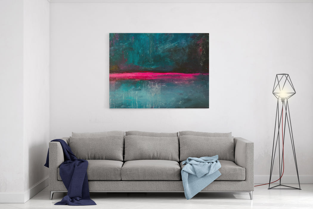 Abstract Oil  Painting Background Oil On Canvas TextureHand Drawn Oil PaintingColor Texture Fragment Of Artwork Brushstrokes Of Paint Modern Art Contemporary Art Colorful Canvas Dark Blue Canvas Wall Art Print