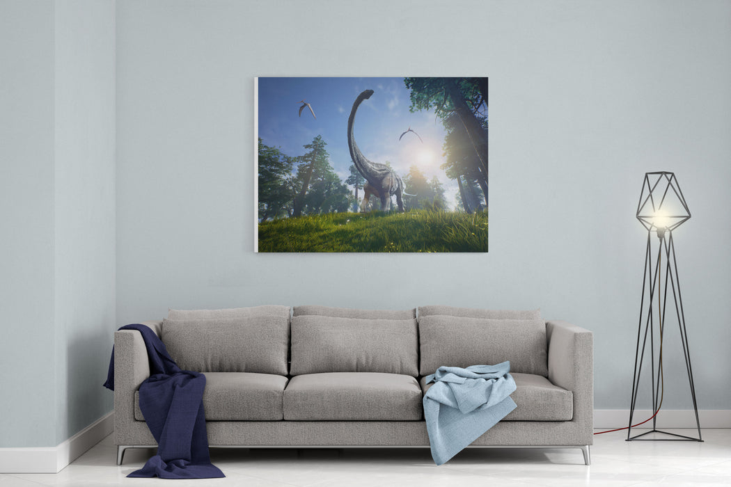 Diplodocus Browsing A Selection Of Trees With Two Pteranodons Flying Overhead Canvas Wall Art Print