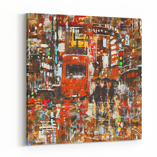Seamless Pattern With Colorful Urban City,abstract Painting,illustration Canvas Wall Art Print