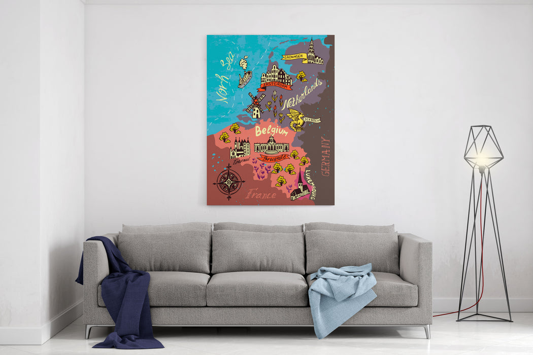 Illustrated Map Of The Netherlands, Belgium, Luxembourg Canvas Wall Art Print