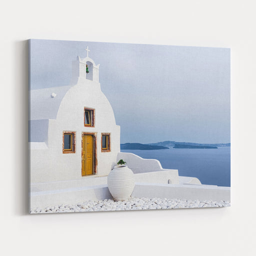 Old Church In Santorini Island, Greece Canvas Wall Art Print