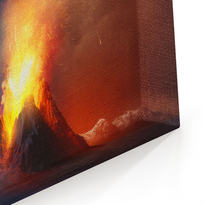 A Large Volcano Erupting Hot Lava And Gases Into The Atmosphere D Illustration Canvas Wall Art Print