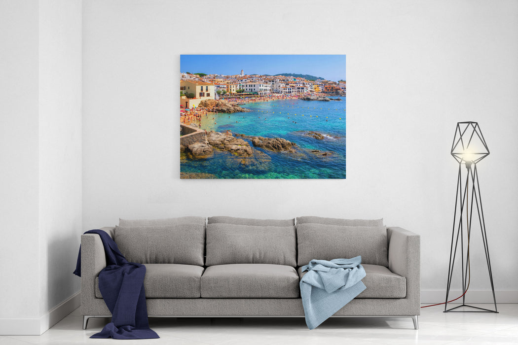 Calella De Palafrugell, Traditional Whitewashed Fisherman Village And A Popular Travel And Holiday Destination On Costa Brava, Catalonia, Spain Canvas Wall Art Print