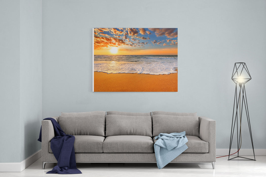 Colorful Ocean Beach Sunrise Canvas Wall Art Print