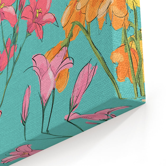 Floral Seamless Pattern Sketch Style Vector Illustration Canvas Wall Art Print