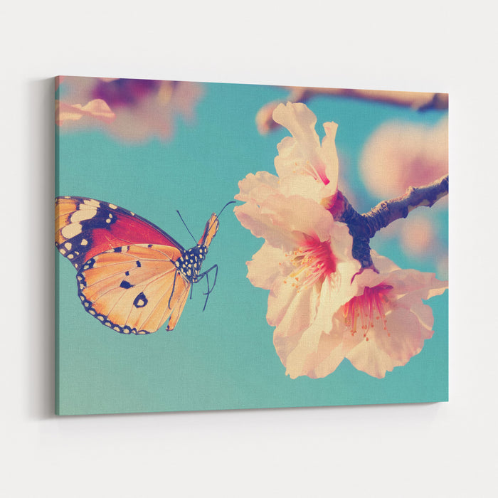 Vintage Spring Image With Butterfly And Blossoming Fruit Tree Against Blue Sky Springtime Nature Abstract Canvas Wall Art Print