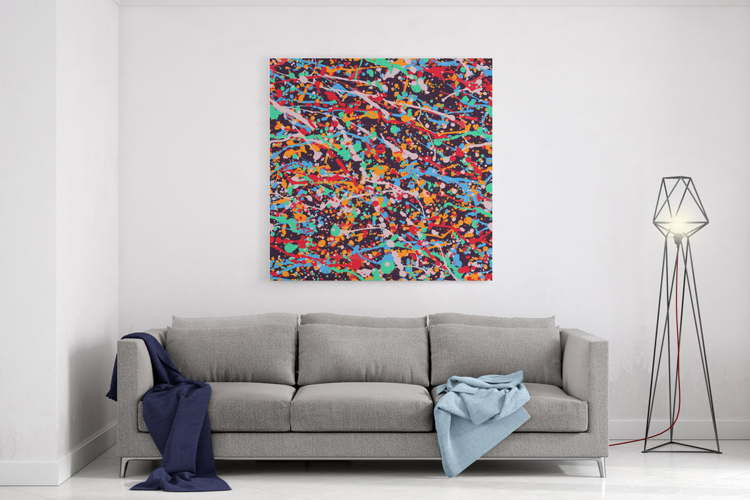 Abstract Expressionism Pattern Style Of Drip Painting Vector Illustration Canvas Wall Art Print