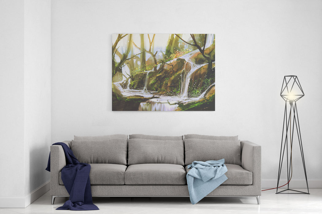 Waterfall In Forest,illustration Painting Canvas Wall Art Print