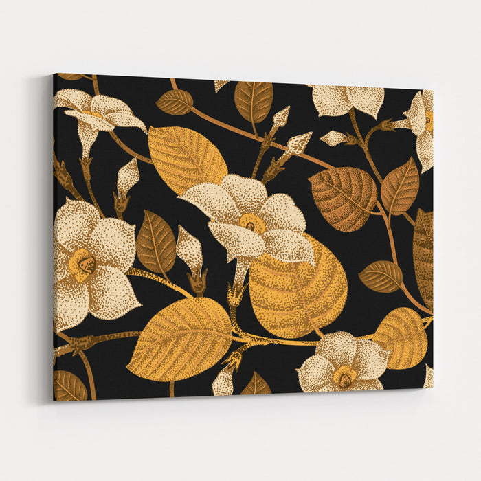 Climbing Plant Ivy Seamless Floral Pattern Garden Flower Bindweed Vector Illustration  Template Design Luxury Packaging, Textile, Paper Golden Branch, Leaves, Flowers On Black Background Canvas Wall Art Print