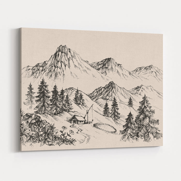 Mountains Landscape And A Sheepfold  Farm Sketch Canvas Wall Art Print