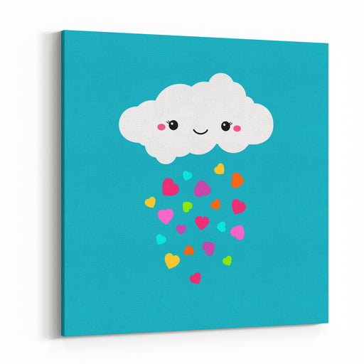 Abstract Cute Cartoon Vector Rainy Cloud Raindrops Of Colorful Hearts Funny Illustration Kids Decorative Background Cute Cloud Design For Children Blue Sky And Rainbow Color Hearts Decoration Canvas Wall Art Print