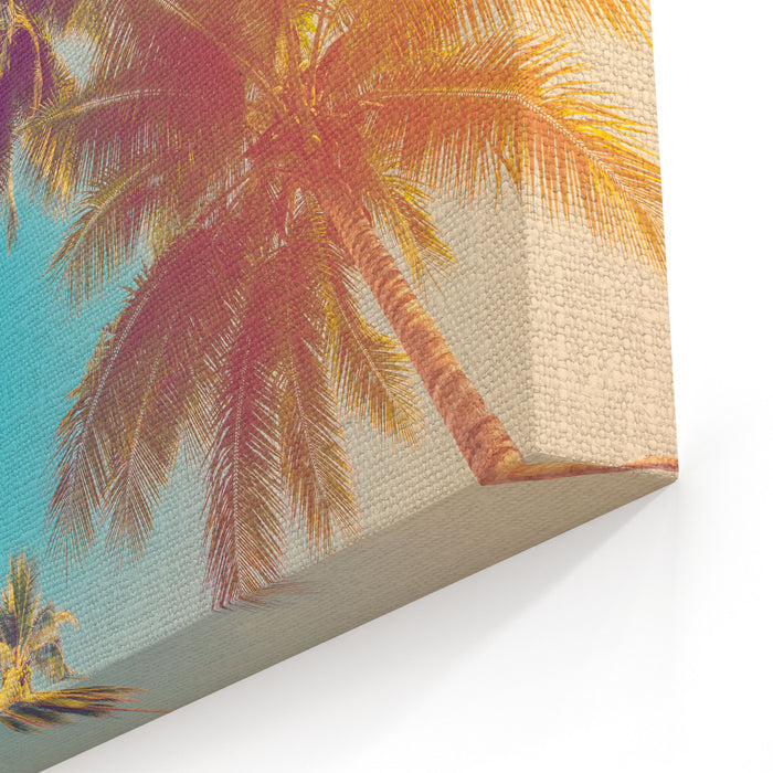 Coconut Palm Tree With Vintage Effect Canvas Wall Art Print