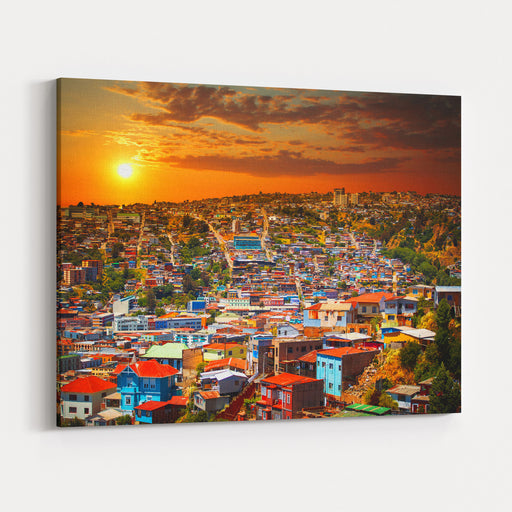 Colorful Buildings On The Hills Of The UNESCO World Heritage City Of Valparaiso, Chile Canvas Wall Art Print
