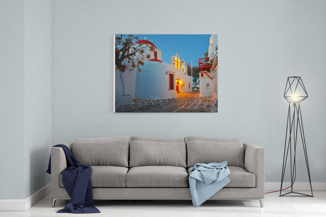 Byzantine Church In A Street Of Mykonos Town On Early Morning Canvas Wall Art Print
