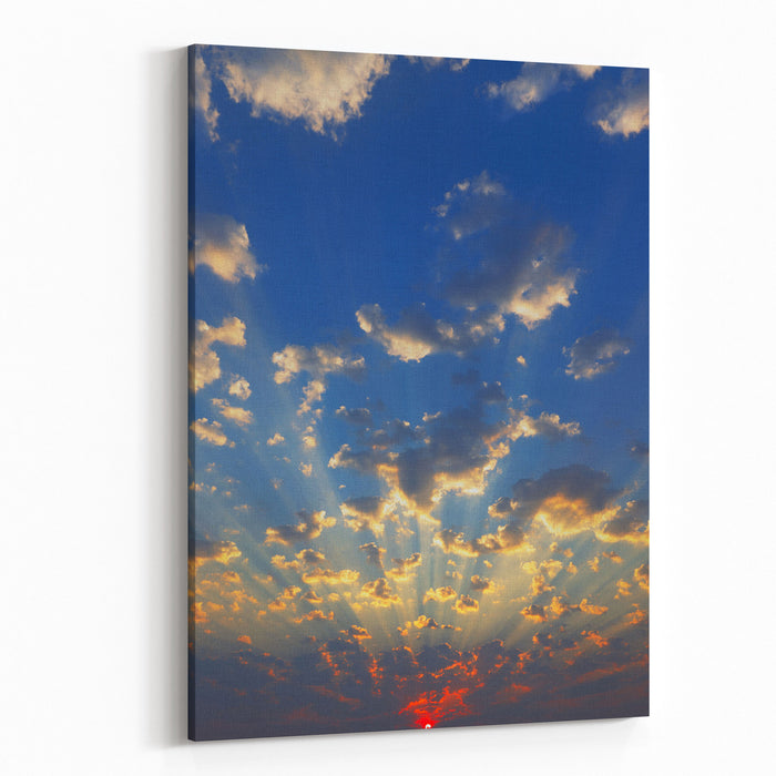 Cloudscape With Sunrays Shining Through Clouds Just As Sun Appears Canvas Wall Art Print
