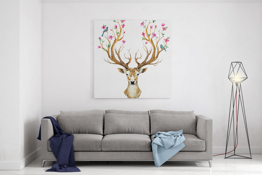 Watercolor Illustration Isolated Deer, Big Antlers, Flowers And Birds On The Horns, Branches Cherry Flowering Plant Canvas Wall Art Print