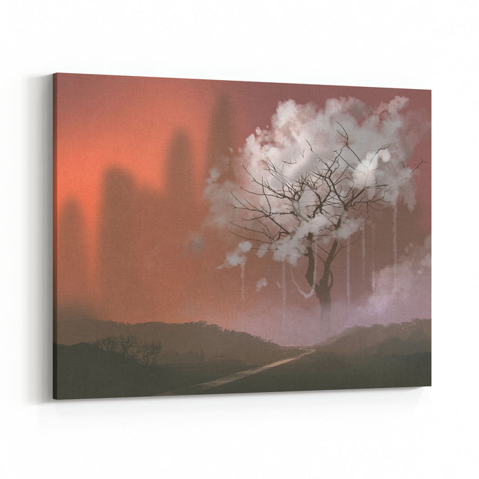 cloud tree path to heaven illustration painting canvas wall art